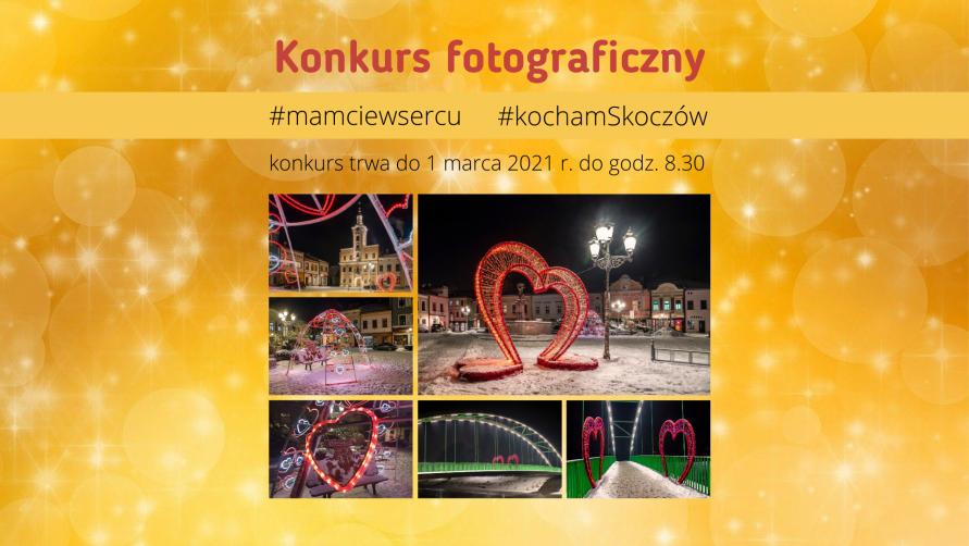 Grafika informacyjna z ozdobami w kształcie serca w Skoczowie i informacją o konkursie
